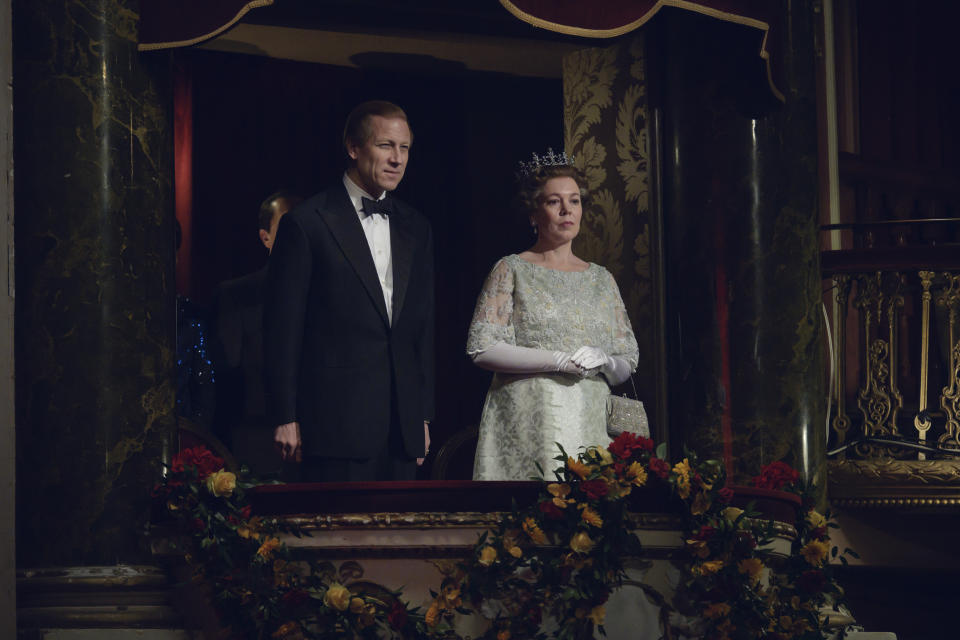 Picture shows: Prince Philip (TOBIAS MENZIES) and Queen Elizabth II (OLIVIA COLMAN)
