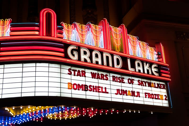 The marquee of the Grand Lake Theater is seen during the opening of the final chapter of the Skywalker saga 'Star Wars: The Rise of Skywalker' in Oakland