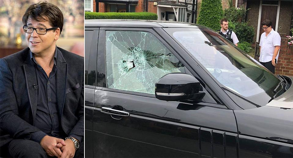 The aftermath of the comedian's car, after he was attacked during the school run. (REX, SWNS)