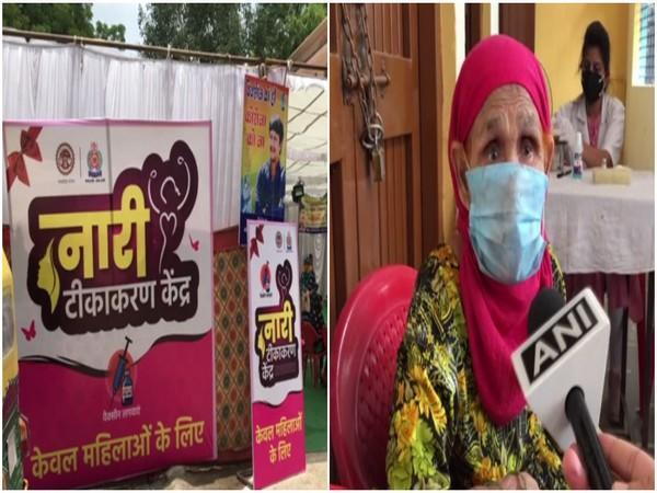 Visuals from a women vaccination centre in Indore (ANI)