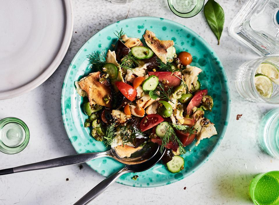 "We love Halloumi's squeaky texture, but some torn salted mozzarella would be just as good (just don't try grilling it). <a href=""https://www.bonappetit.com/recipe/grilled-fattoush-with-halloumi-and-eggplant?mbid=synd_yahoo_rss"" rel=""nofollow noopener"" target=""_blank"" data-ylk=""slk:See recipe."" class=""link rapid-noclick-resp"">See recipe.</a>"