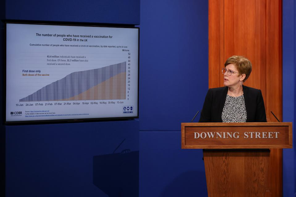 Dr Mary Ramsay praising the UK's COVID vaccine rollout at Wednesday's Downing Street press conference. (PA)