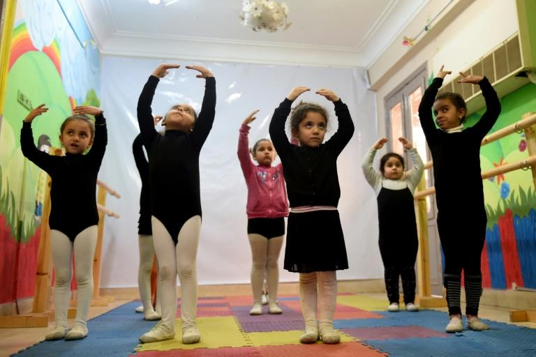 Girls practice ballet moves at Alwanat Cutlural Centre in the Upper Egyptian city of Minya, south of the capital Cairo