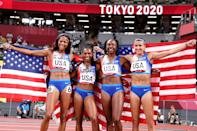 """<p>Biography: Teahna Daniels is 24, Javianne Oliver is 26, Jenna Prandini is 28 and Gabrielle Thomas is 24</p> <p>Event: Women's 4x100m relay</p> <p>Quote: Thomas: """"We were excited to come out here and work hard together to come out with a medal. We're really excited to do this for Team USA.""""</p>"""