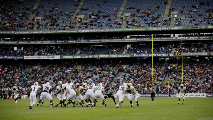 Penn State Nittany Lions and UCF Knights during the Croke Park Classic College Football match in Dublin, Ireland, Saturday, Aug. 30,2014. University of Central Florida hosted Penn State in their 2014 football Season Opener Saturday. This big season opener for UCF and Penn State is the first time that they have played outside the United States.  (AP Photo/Peter Morrison)