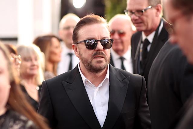 77th ANNUAL GOLDEN GLOBE AWARDS -- Pictured: (l-r) Ricky Gervais arrives to the 77th Annual Golden Globe Awards held at the Beverly Hilton Hotel on January 5, 2020. -- (Photo by Christopher Polk/NBC/NBCU Photo Bank via Getty Images)