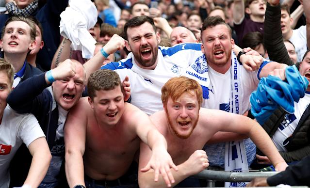 Soccer Football - National League Promotion Final - Tranmere Rovers v Boreham Wood - Wembley Stadium, London, Britain - May 12, 2018 Tranmere Rovers fans celebrate at the end of the match Action Images/Matthew Childs