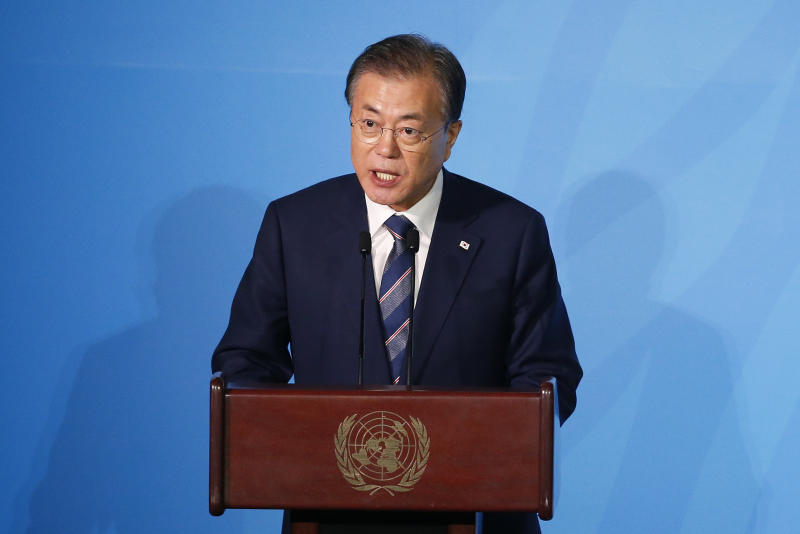 South Korea's President Moon Jae-in addresses the Climate Action Summit in the United Nations General Assembly, at U.N. headquarters, Monday, Sept. 23, 2019. (AP Photo/Jason DeCrow)