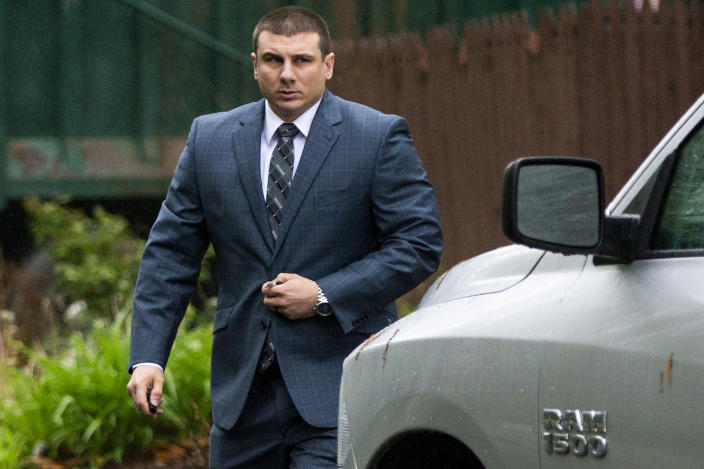 FILE - In this May 13, 2019, file photo, New York City police officer Daniel Pantaleo leaves his house in the Staten Island borough of New York. Pantaleo was fired in the 2014 chokehold death of Eric Garner. New York Attorney General Letitia James' inability to secure charges against Rochester police officers shown on video holding Daniel Prude to the pavement until he stopped breathing shows the difficulty in prosecuting officers who use deadly force. (AP Photo/Eduardo Munoz Alvarez, File)