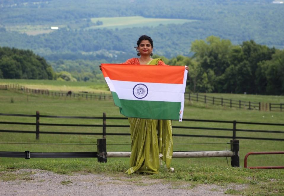 Traveling Saree with the Indian flag