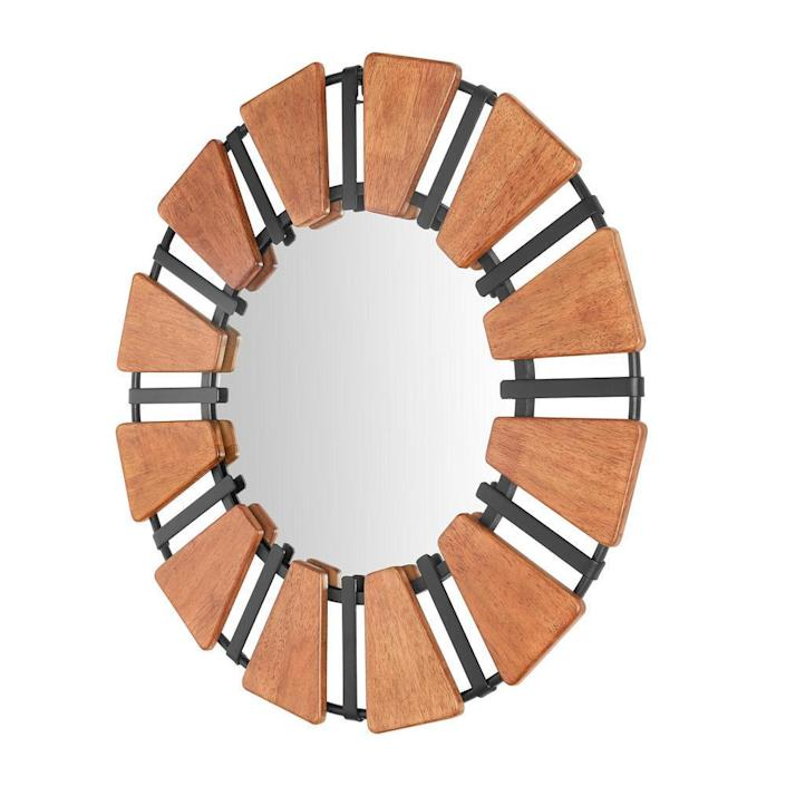 Home Decorators Collection Round Framed Antiqued Wood and Black Metal Accent Mirror