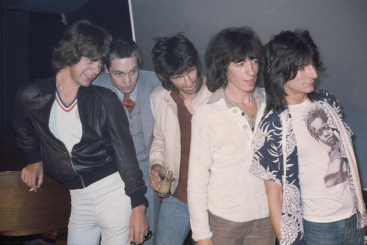 The Rolling Stones at Trax Club in New York City, N.Y., Sept. 23, 1977, to promote their new album. From left to right; Mick Jagger, Charlie Watts, Keith Richards, Bill Wyman and Ron Wood.