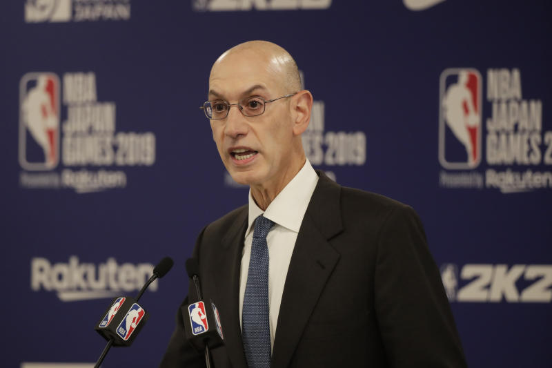 NBA commissioner Adam Silver speaks at a news conference before an NBA preseason basketball game between the Houston Rockets and the Toronto Raptors on Oct. 8. (AP)