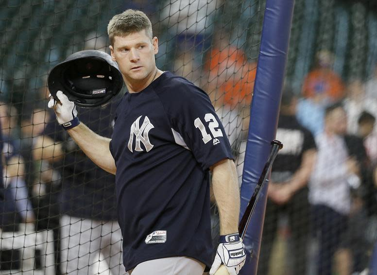 New York Yankees' Chase Headley takes batting practice before Game 1 of baseball's American League Championship Series against the Houston Astros Friday, Oct. 13, 2017, in Houston. (AP Photo/Tony Gutierrez)