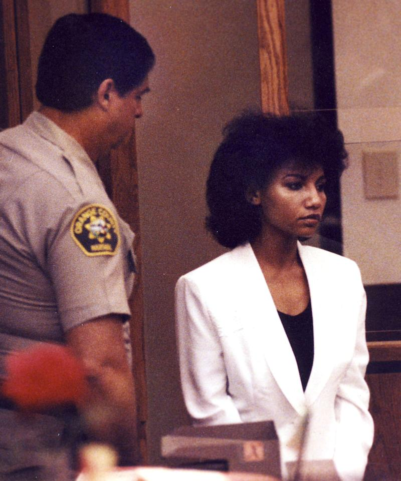 In a 1992 photo, Omaima Aref Nelson enters a Santa Ana, Calif. courtroom. Nelson, who killed her newlywed husband and chopped and cooked his body parts over Thanksgiving weekend in 1991 is seeking release from a California prison. Nelson is set to appear before parole commissioners Wednesday at the Central California Women's Facility in Chowchilla where she has been serving a life sentence.  (AP Photo/Orange County Register, Bruce Chambers) MANDATORY CREDIT: FILE PHOTO: BRUCE CHAMBERS, THE ORANGE COUNTY REGISTER