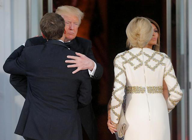<p>United States President Donald Trump and first lady Melania Trump welcome French President Emmanuel Macron and his wife Brigitte for a State Dinner at the White House in Washington, April 24, 2018. (Photo: Brian Snyder/Reuters) </p>