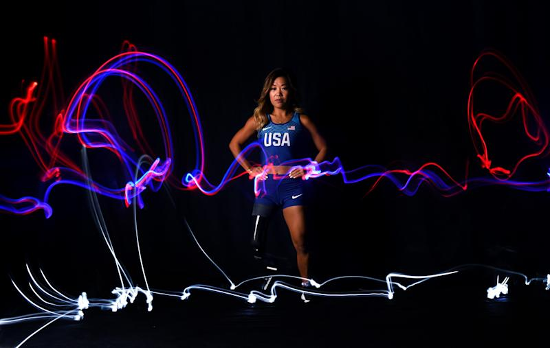 WEST HOLLYWOOD, CALIFORNIA - NOVEMBER 22: Para track & field athlete Scout Bassett poses for a portrait during the Team USA Tokyo 2020 Olympic shoot on November 22, 2019 in West Hollywood, California. (Photo by Harry How/Getty Images)