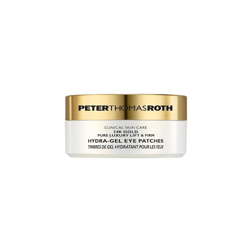 "Let your mom know you won't judge her if she chooses to blast ""24K Magic"" while applying these fancy eye masks in the mirror. $75, Peter Thomas Roth. <a href=""https://www.ulta.com/24k-gold-pure-luxury-lift-firm-hydra-gel-eye-patches?productId=xlsImpprod13951005&sku=2301905&nrtv_cid=2844f65f4ef211a0711c491c44809f1b3c174c4fd1c666534db92903edf81226&utm_source=narrativ&utm_medium=cpc&utm_campaign=narrativ_premium_editorial&utm_content=glamour&AID=313779&PID=376373&CID=af_313779_376373_&clickId=yUDzTZ1f1xyOTiUwUx0Mo34BUkEx6mWY00000w0&SubID=&irgwc=1"" rel=""nofollow noopener"" target=""_blank"" data-ylk=""slk:Get it now!"" class=""link rapid-noclick-resp"">Get it now!</a>"