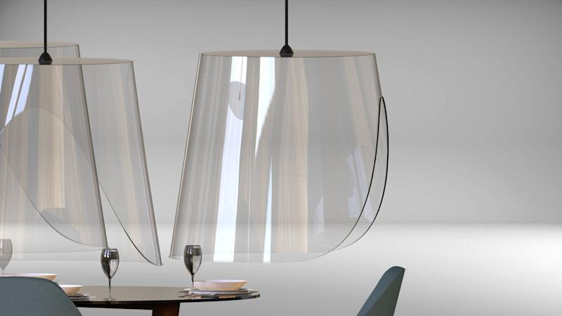 The lamp-like Plexi'Eat shields are meant to reduce the spread of airborne illness.
