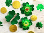 """<p>Add a wee bit of festive cheer to her hair with an oversized felt shamrock clip.</p><p><em><a href=""""https://www.janinehuldie.com/2018/03/four-leaf-clover-hair-clips/"""" rel=""""nofollow noopener"""" target=""""_blank"""" data-ylk=""""slk:Get the tutorial at Confessions of a Disneyaholic Mom »"""" class=""""link rapid-noclick-resp"""">Get the tutorial at Confessions of a Disneyaholic Mom »</a></em></p>"""