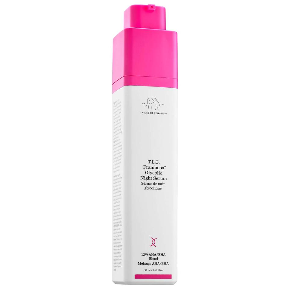 """Drunk Elephant's T.L.C. <strong><a href=""""https://www.sephora.com/product/t-l-c-framboos-tm-glycolic-night-serum-P392246"""" target=""""_blank"""" rel=""""noopener noreferrer"""">Framboos Glycolic Night Serum</a></strong>is a 12 percent AHA/BHA serum that's meant to resurface the skin overnight, help with uneven skin tone and dullness.<strong><a href=""""https://www.sephora.com/product/t-l-c-framboos-tm-glycolic-night-serum-P392246"""" target=""""_blank"""" rel=""""noopener noreferrer"""">Find it for $90 at Sephora.</a></strong>"""