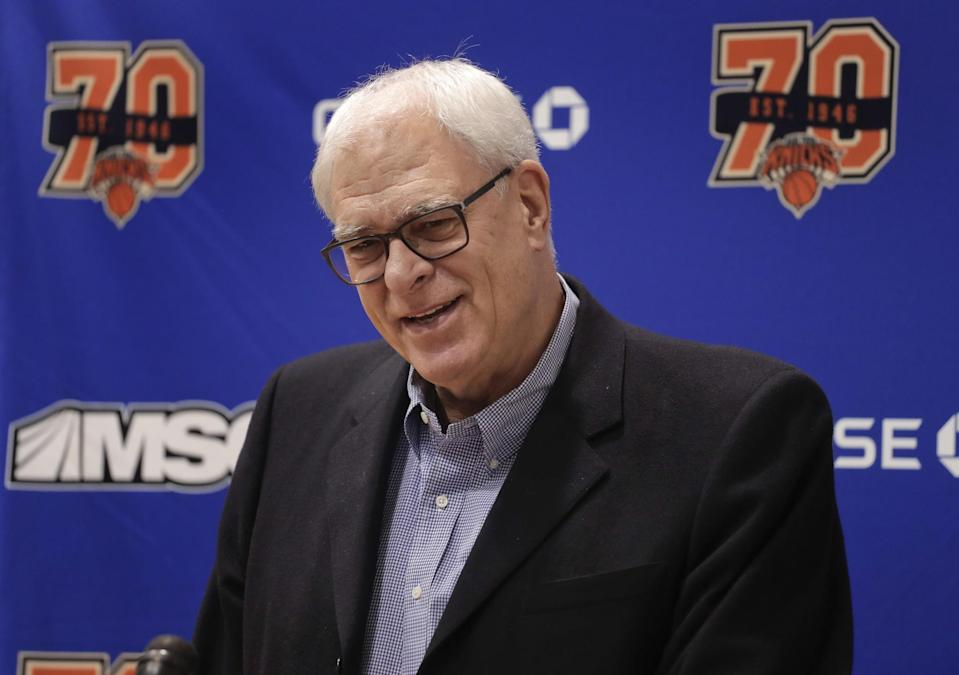 Knicks president Phil Jackson answers questions during his news conference Friday at the team's training facility. (AP)