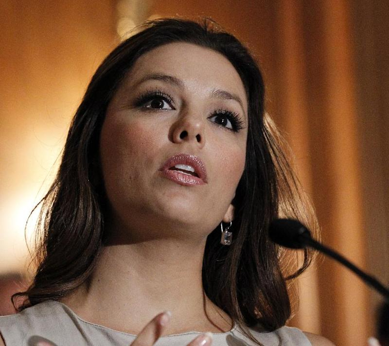 FILE - This May 5, 2011 file photo shows actress Eva Longoria speaking at a news conference on Capitol Hill in Washington. Following an election when Latinos showed their growing political influence, a coalition of groups is coordinating a gathering of top Latino entertainers at the Kennedy Center in a series of events ahead of President Barack Obama's inauguration.  (AP Photo/Alex Brandon, File)