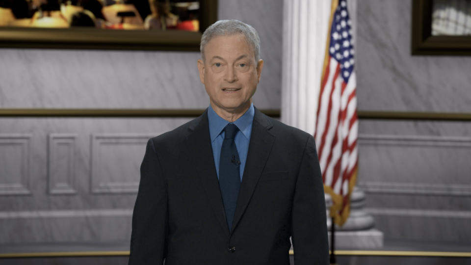 WASHINGTON, DC: In this image released on May 28, 2021, Emmy Award-winning actor and humanitarian Gary Sinise hosts the 2021 National Memorial Day Concert in Washington, DC. The National Memorial Day Concert will be broadcast on May 30, 2021. (Photo by Theo Wargo/Getty Images for Capital Concerts)