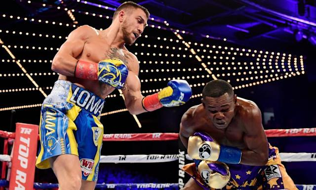 """<span class=""""element-image__caption"""">Vasyl Lomachenko catches Guillermo Rigondeaux during their junior lightweight bout at Madison Square Garden last Saturday night.</span> <span class=""""element-image__credit"""">Photograph: Steven Ryan/Getty Images</span>"""