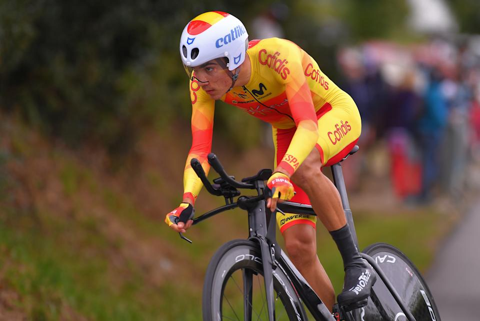 PLOUAY, FRANCE - AUGUST 24: Juan Ayuso Pesquera of Spain / during the 26th UEC Road European Championships 2020 -  Men's Junior Individual Time Trial a 25,6km race from Plouay to Plouay / ITT / @UEC_cycling / #EuroRoad20 / on August 24, 2020 in Plouay, France. (Photo by Luc Claessen/Getty Images)