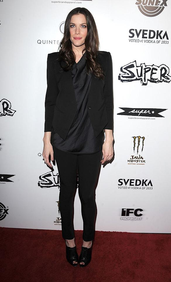 """<a href=""""http://movies.yahoo.com/movie/contributor/1800019265"""">Liv Tyler</a> at the Los Angeles premiere of <a href=""""http://movies.yahoo.com/movie/1810167552/info"""">Super</a> on March 21, 2011."""