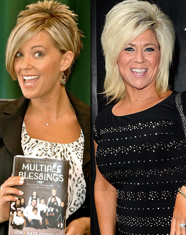 "Kate Gosselin and ""Long Island Medium"" Theresa Caputo have a few things in common. They've both had (or in Caputo's case, have) a reality show on TLC, they're both moms, and they've both sported some seriously sideswept bleached blond hair. Although Gosselin eventually came to her senses and started wearing a more natural style, Caputo is still rocking the overdone 'do. May we suggest that TLC make Caputo the subject of a special hair edition of its ""What Not to Wear"" show?"