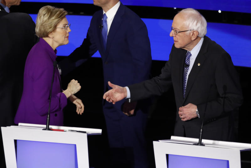 Democratic presidential candidate Sen. Elizabeth Warren, D-Mass., left and Sen. Bernie Sanders, I-Vt. greet each other Tuesday, Jan. 14, 2020, after a Democratic presidential primary debate hosted by CNN and the Des Moines Register in Des Moines, Iowa. (AP Photo/Patrick Semansky)
