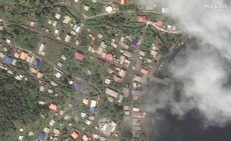A satellite image shows Richmond Vale waterfront on Saint Vincent island before the volcanic eruption