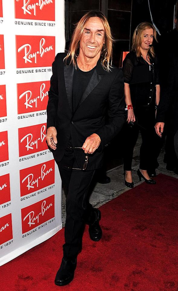 "Punk legend Iggy Pop and other cool celebs hit the red carpet and rocked out to a concert at New York's Music Hall of Williamsburg on Wednesday. The occasion? Ray-Ban's re-launch of its Aviator sunglasses. Theo Wargo/<a href=""http://www.wireimage.com"" target=""new"">WireImage.com</a> - May 12, 2010"