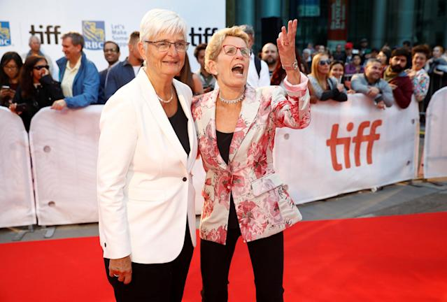 "Ontario Premier Kathleen Wynne, and her partner Jane Rounthwaite, arrive on the red carpet for the film ""Borg/McEnroe"" at the Toronto International Film Festival (TIFF), in Toronto, Ontario, Canada, September 7, 2017. REUTERS/Mark Blinch"