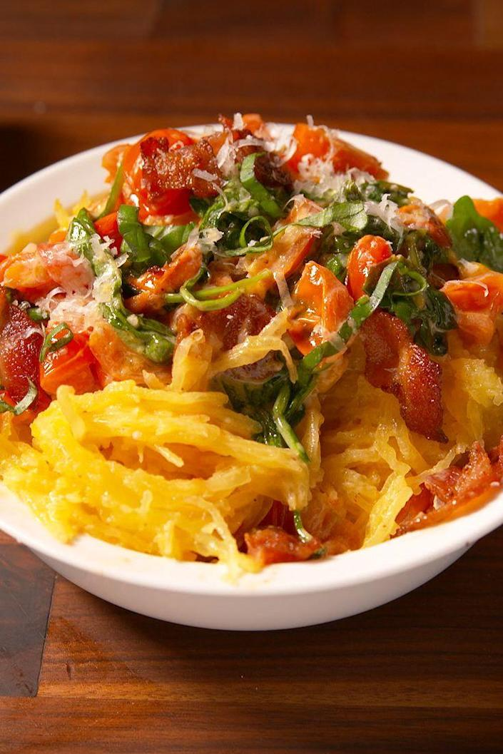 """<p>This low carb alternative might just be better than the real thing.</p><p>Get the recipe from <a href=""""https://www.delish.com/cooking/recipe-ideas/recipes/a50703/cheesy-tuscan-spaghetti-squash-recipe/"""" rel=""""nofollow noopener"""" target=""""_blank"""" data-ylk=""""slk:Delish"""" class=""""link rapid-noclick-resp"""">Delish</a>.</p>"""