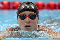 Katie Ledecky of United States leaves the pool after her swim in a women's 200-meter freestyle semifinal at the 2020 Summer Olympics, Tuesday, July 27, 2021, in Tokyo, Japan. (AP Photo/Martin Meissner)