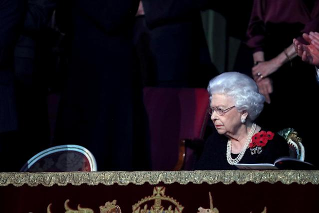 Britain's Queen Elizabeth attends the Royal British Legion Festival of Remembrance at the Royal Albert Hall in London, Britain November 9, 2019. Chris Jackson/Pool via REUTERS