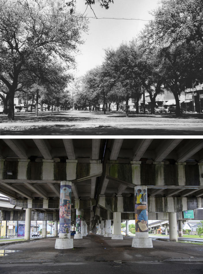 This photo combination shows Claiborne Avenue in New Orleans lined with trees at the intersection with Dumaine Street in an undated photo, top, and the same location on May 11, 2021, bottom, where an elevated expressway built in the late 1960s now runs along Claiborne Ave. (City Archives & Special Collections, New Orleans Public Library, top, and Rebecca Santana, bottom, via AP)