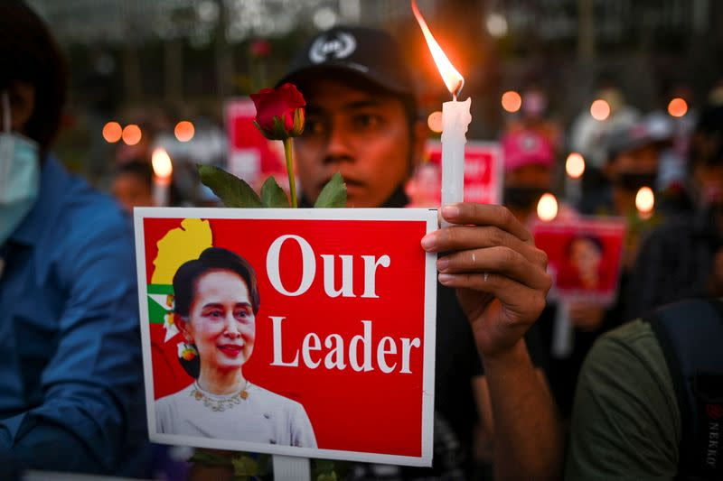 Protest against military coup in Yangon