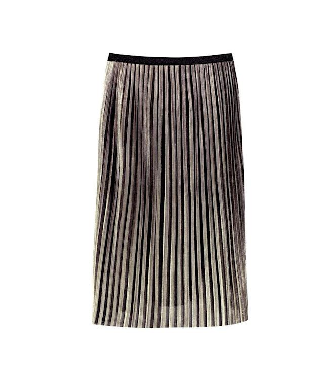 "<p>Metallic Pleated Midi Skirt, $40,<a href=""http://us.boohoo.com/ava-metallic-pleated-midi-skirt/DZZ63473.html?color=128"" rel=""nofollow noopener"" target=""_blank"" data-ylk=""slk:boohoo.com"" class=""link rapid-noclick-resp""> boohoo.com</a> </p>"