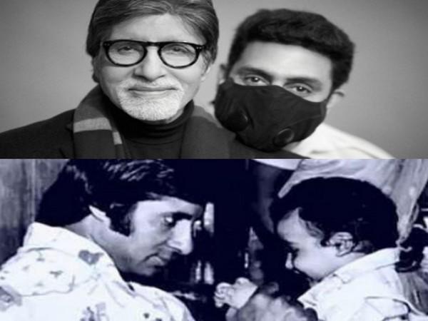A throwback and a recent picture of megastar Amitabh Bachchan and son Abhishek Bachchan. (Image Source: Instagram)