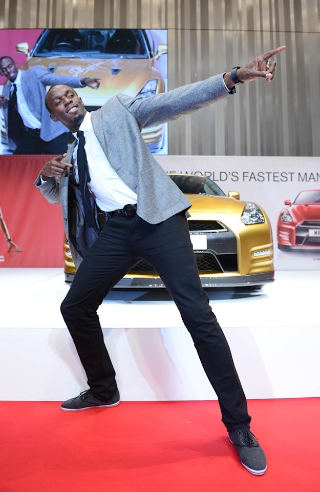 YOKOHAMA, JAPAN - OCTOBER 11:  Olympic gold medalist Usain Bolt attends the Nissan GT-R promotional event at the Nissan Motor Co., headquarters on October 11, 2012 in Yokohama, Kanagawa, Japan.  (Photo by Getty Images/Getty Images)