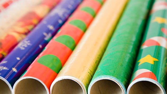 Rolls of colorful wrapping paper for Christmas/New Year gifts.