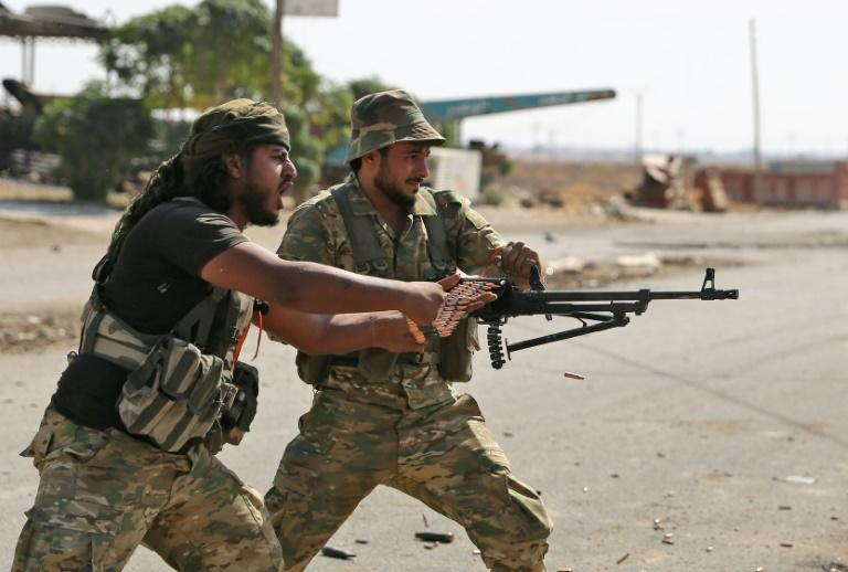 Syrian former rebels, who have been Turkey's main ground partners in its cross-border offensive, have made advances elsewhere along a 120 kilometre (75 mile) front but have met fierce Kurdish resistance in Ras al-Ain (AFP Photo/Nazeer Al-khatib)