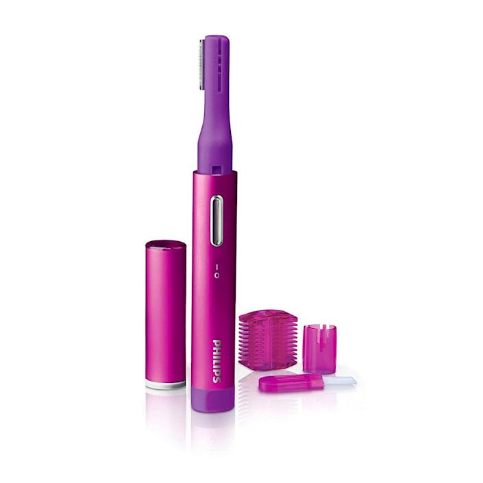 """<p><strong>Philips Beauty</strong></p><p>amazon.com</p><p><strong>$12.95</strong></p><p><a href=""""https://www.amazon.com/dp/B00I471M9E?tag=syn-yahoo-20&ascsubtag=%5Bartid%7C2089.g.23610458%5Bsrc%7Cyahoo-us"""" rel=""""nofollow noopener"""" target=""""_blank"""" data-ylk=""""slk:Shop Now"""" class=""""link rapid-noclick-resp"""">Shop Now</a></p><p>Looking just to trim pesky hairs? If you don't want a close shave, then this battery-powered trimmer is perfect: It has a slender razor head for getting close, but also comes with safety heads to keep your lips, eyebrows, chin, and entire face safe from nicks and cuts. Plus, it has a dusting brush to keep your razor clean after every use.</p>"""