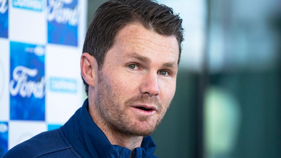 Pictured here, Geelong star Patrick Dangerfield addresses media.