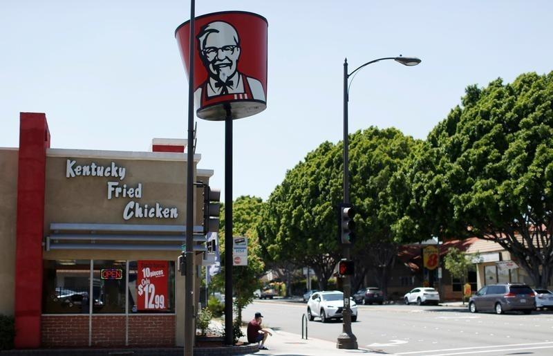 A KFC fast food restaurant is pictured in Pasadena