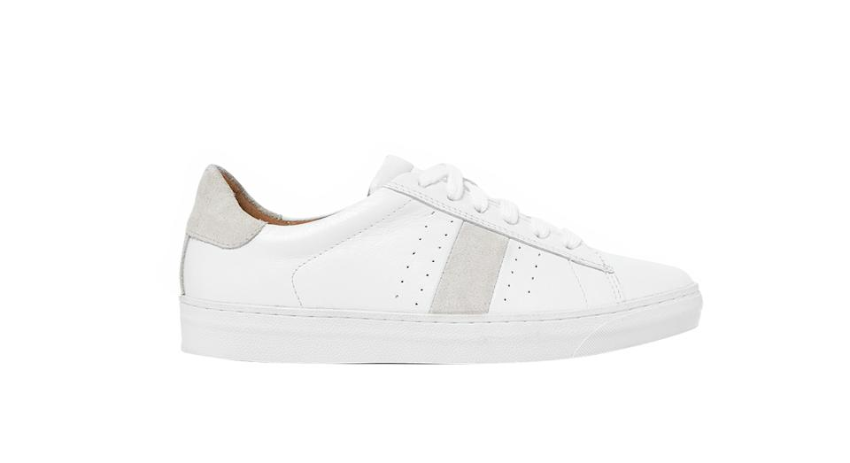 Leather Lace Up Side Stripe Trainers
